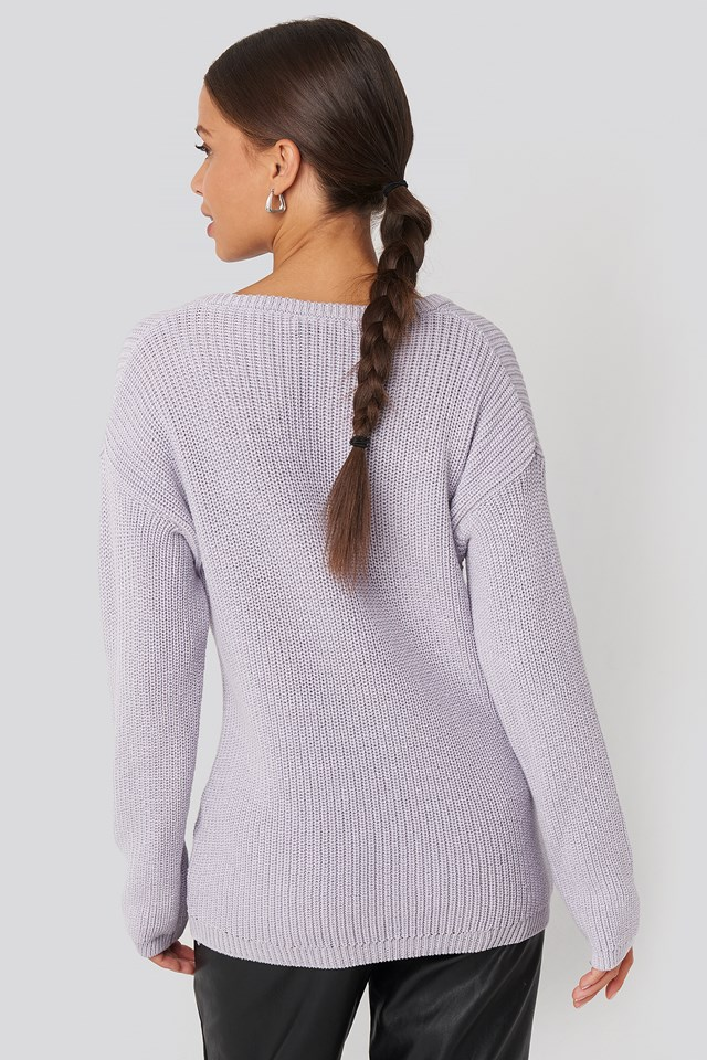 Deep Front V-neck Knitted Sweater Dusty Light Purple