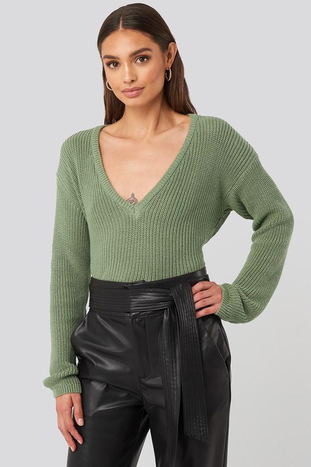 Deep Front V-neck Knitted Sweater Light Khaki