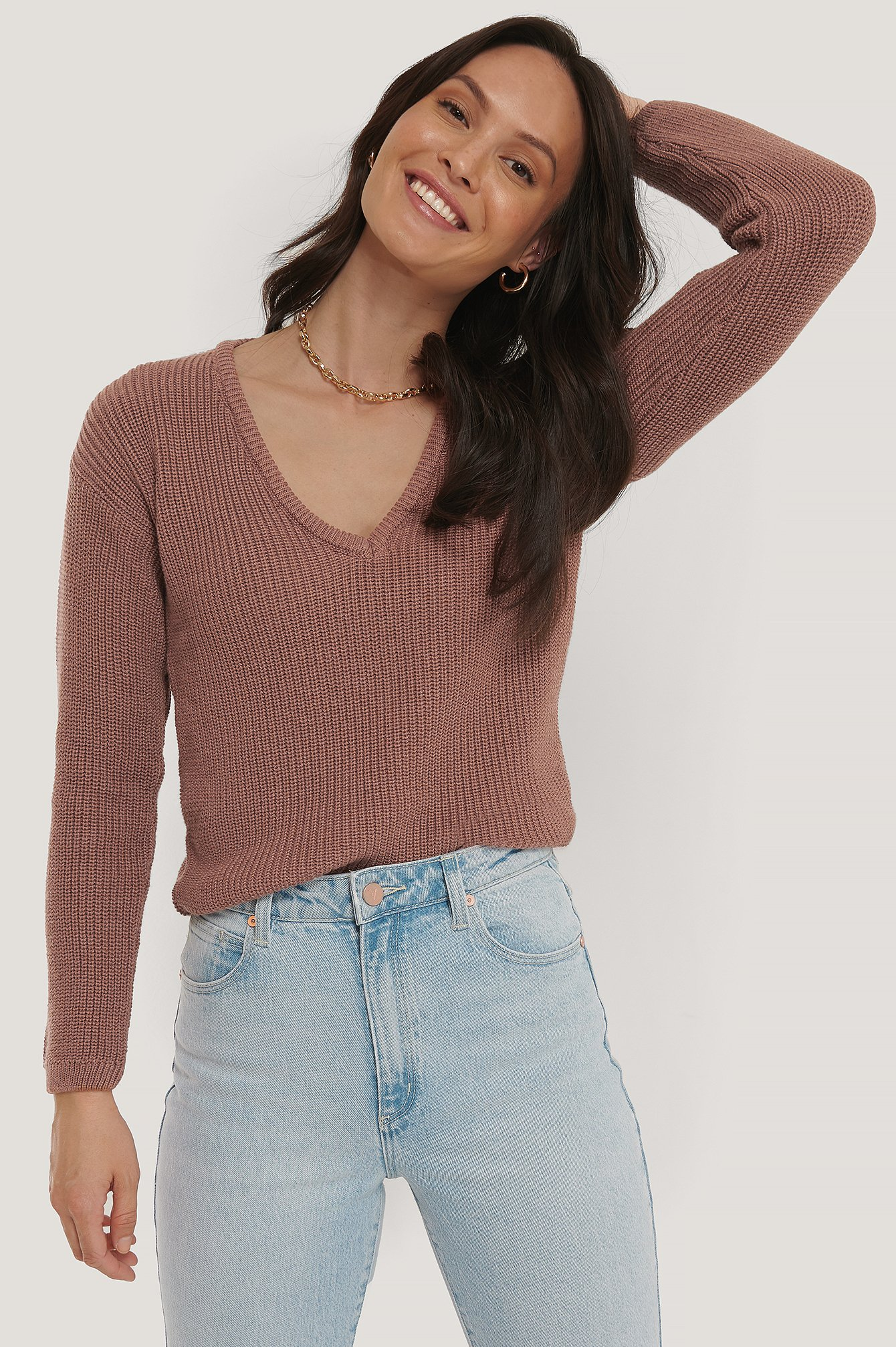 Dusty Dark Pink Deep Front V-neck Knitted Sweater
