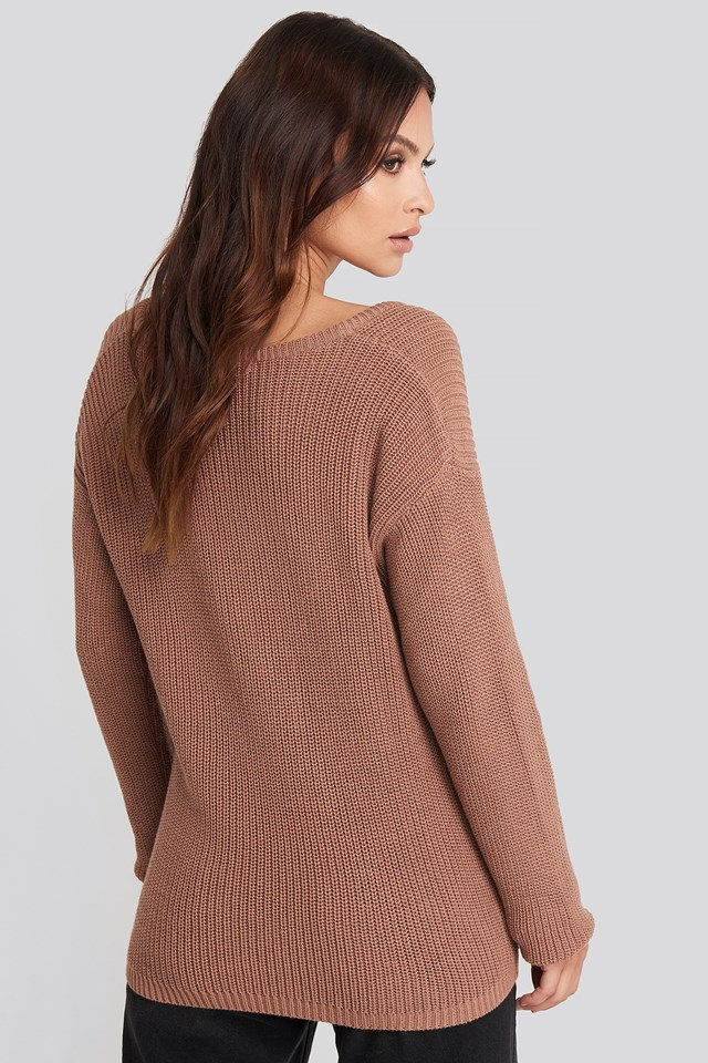 Deep Front V-neck Knitted Sweater Dusty Dark Pink