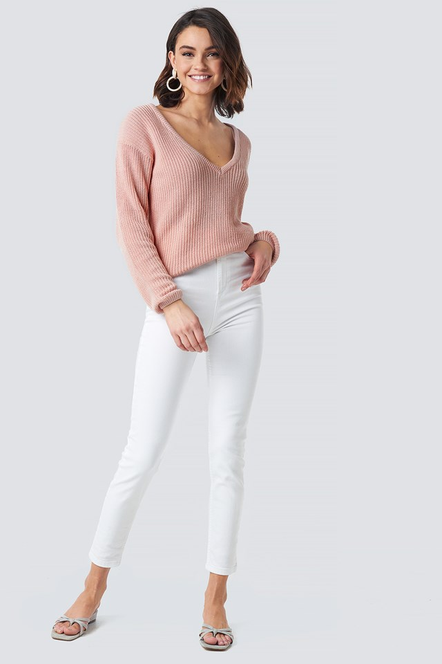 Deep Front V-neck Knitted Sweater Dusty Light Pink