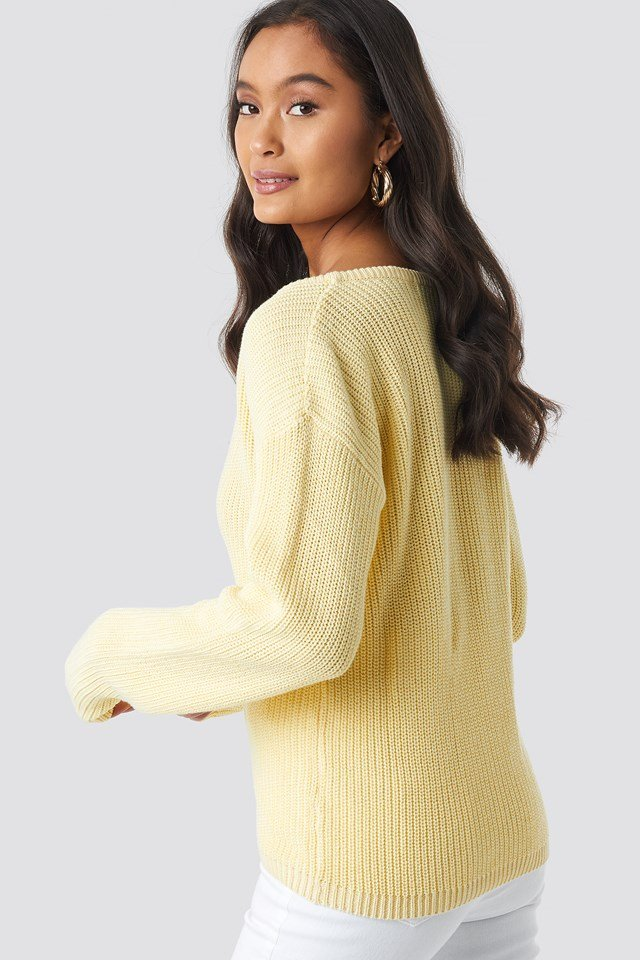Deep Front V-neck Knitted Sweater Light Yellow