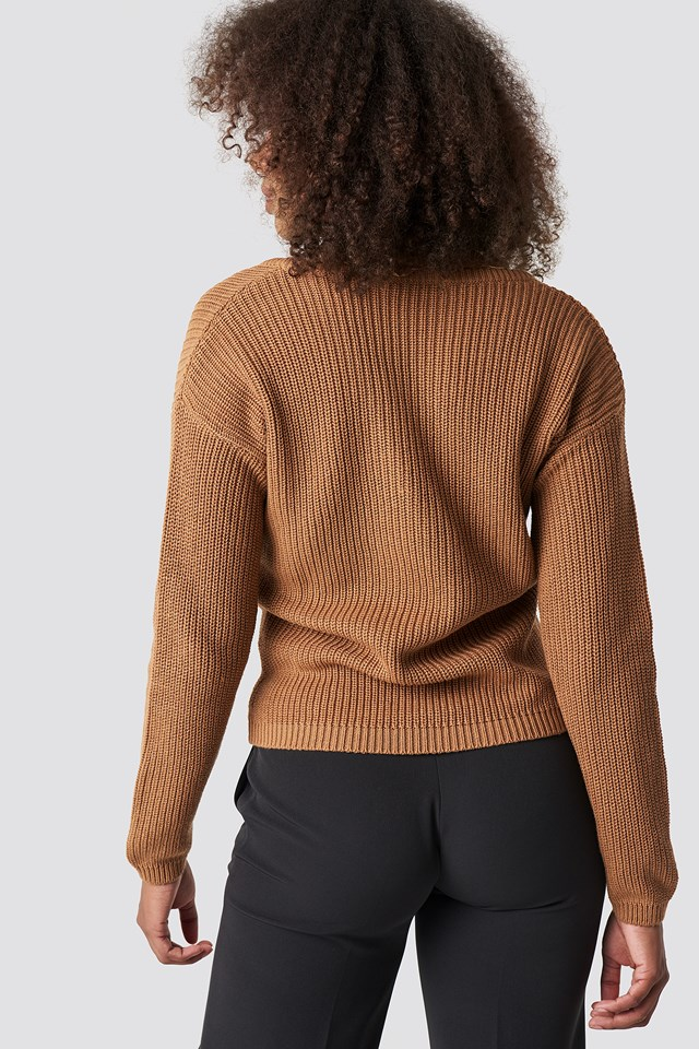Deep Front V-neck Knitted Sweater Tan