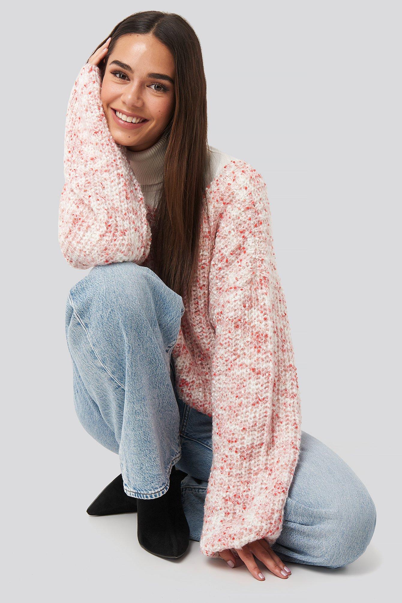 NA-KD Trend Deep Neck Melange Sweater - Pink