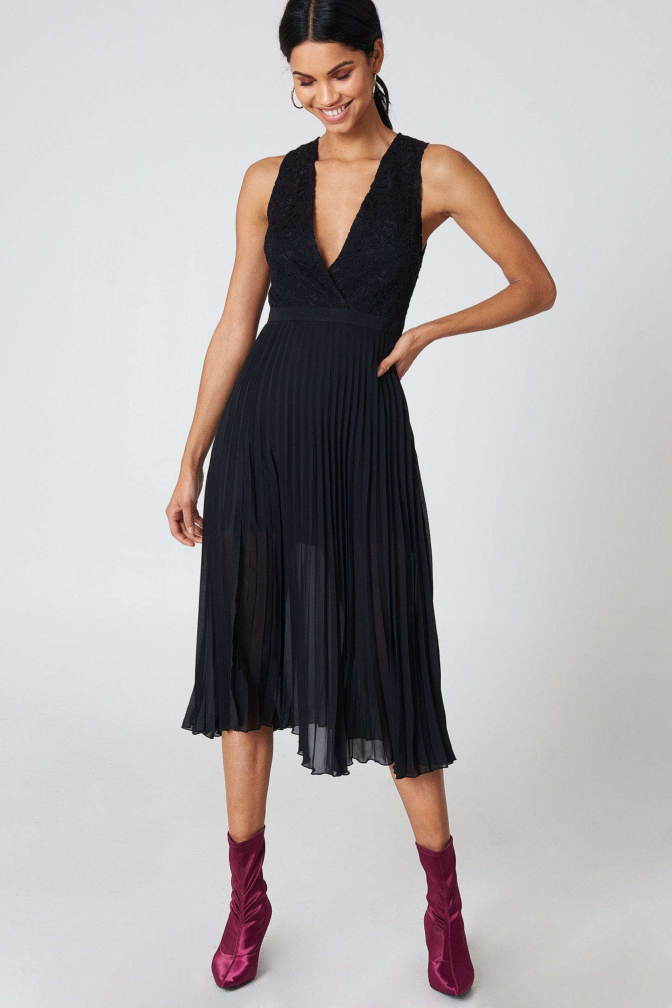 Deep Neck Pleated Dress