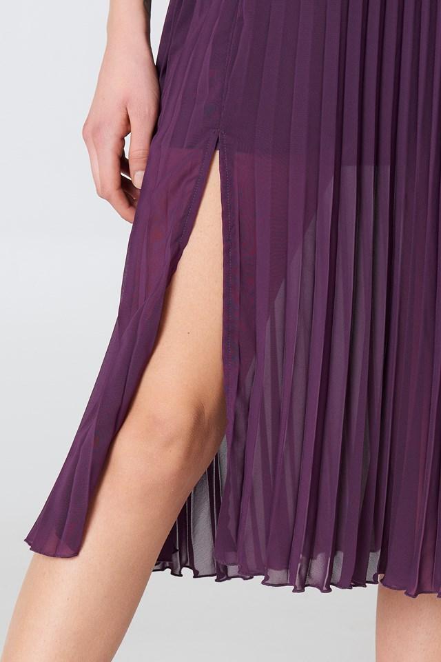 Deep Neck Pleated Dress Deep Purple