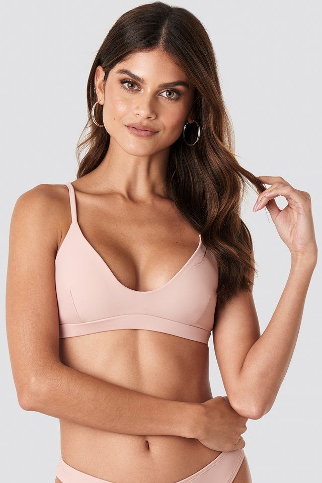 Deep Neck Sporty Bikini Top Pink