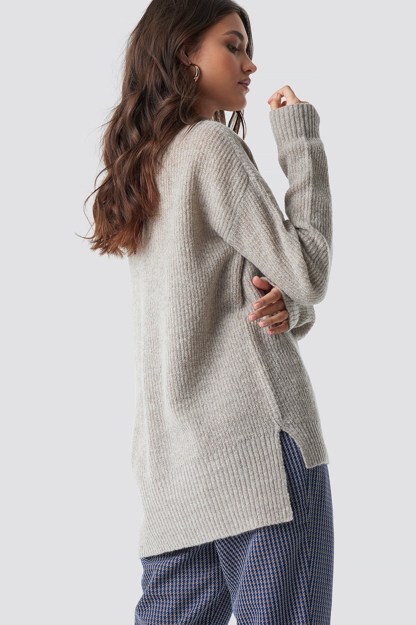 Deep V Neck Wool Blend Sweater NA-KD.COM