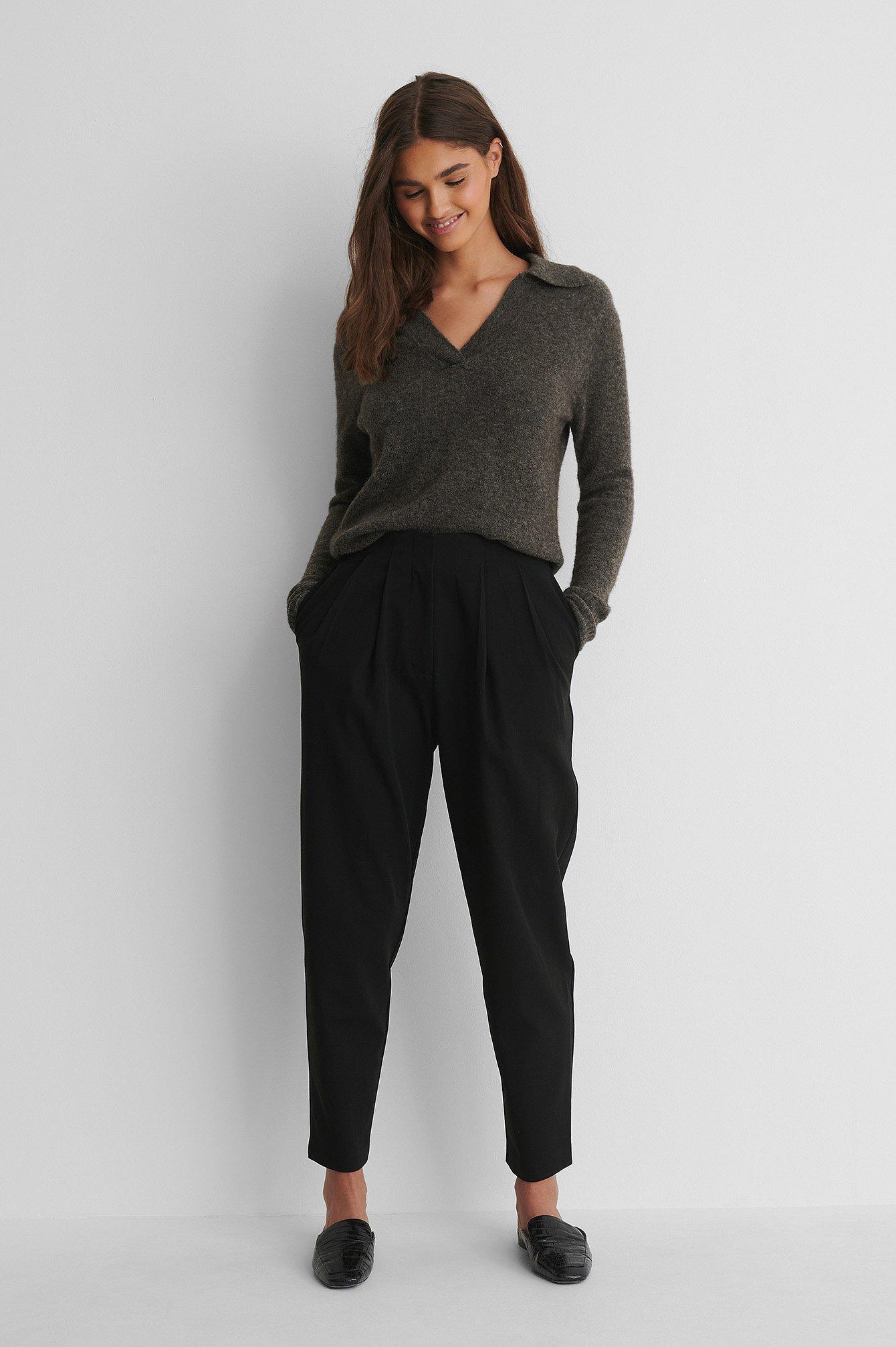 na-kd trend -  Anzughose Mit Tiefen Falten - Black