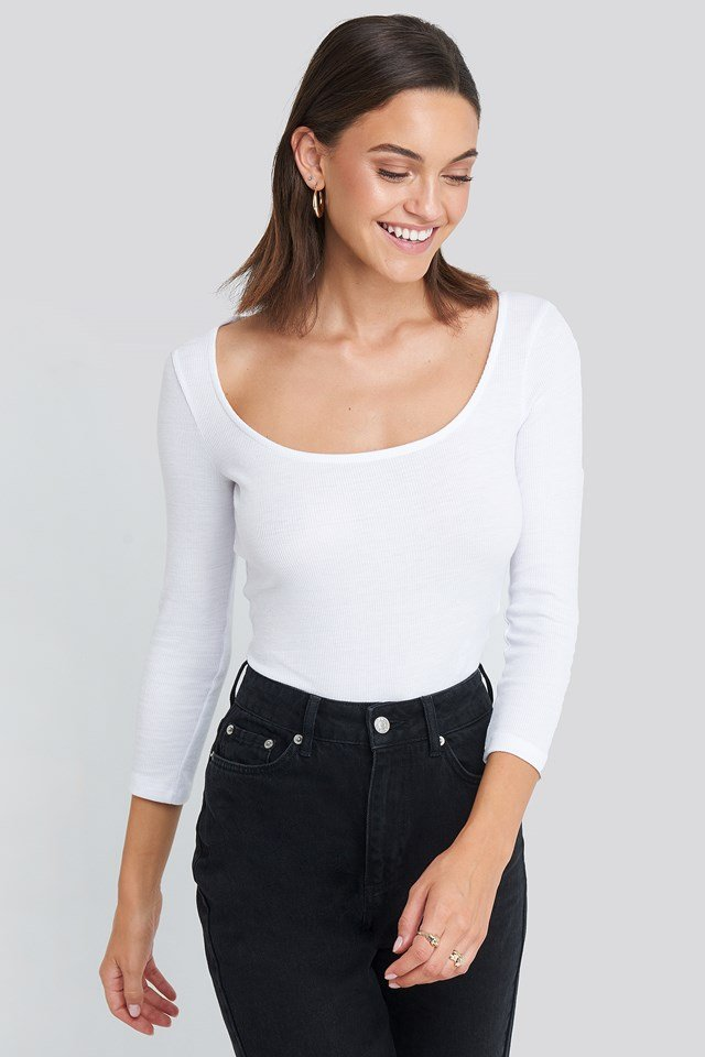 Deep Round Neck Ribbed Body White