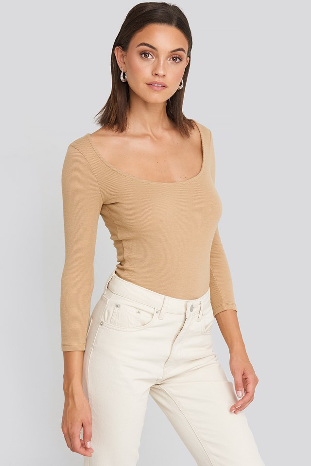 Deep Round Neck Ribbed Body Light Beige