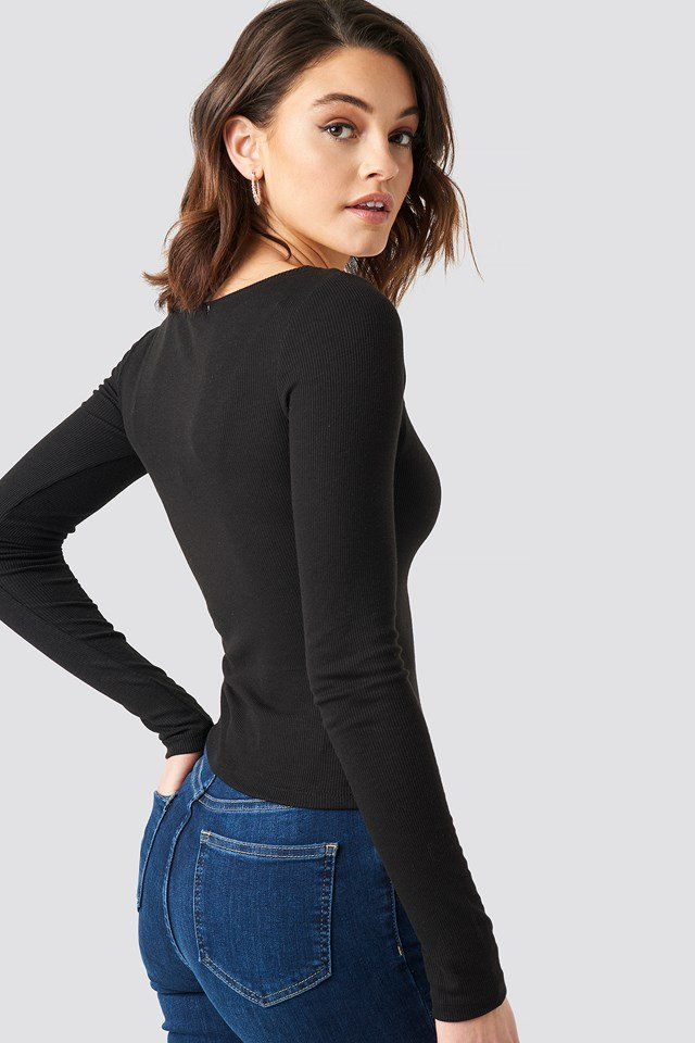 Deep Round Neck Ribbed Top Black