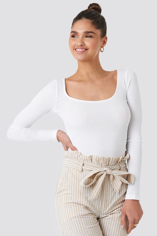 Deep Round Neck Ribbed Top Offwhite