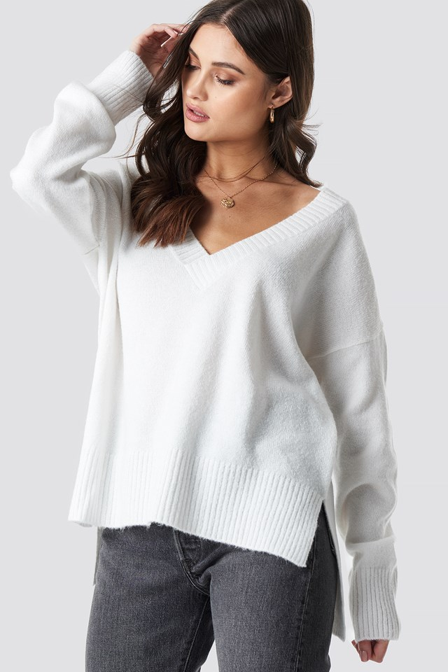 Deep V-neck Oversized Sweater White