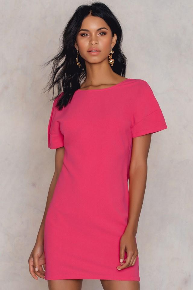 Deep V Back Dress Pink
