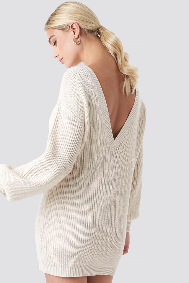 Deep V Back Long Knitted Sweater Offwhite
