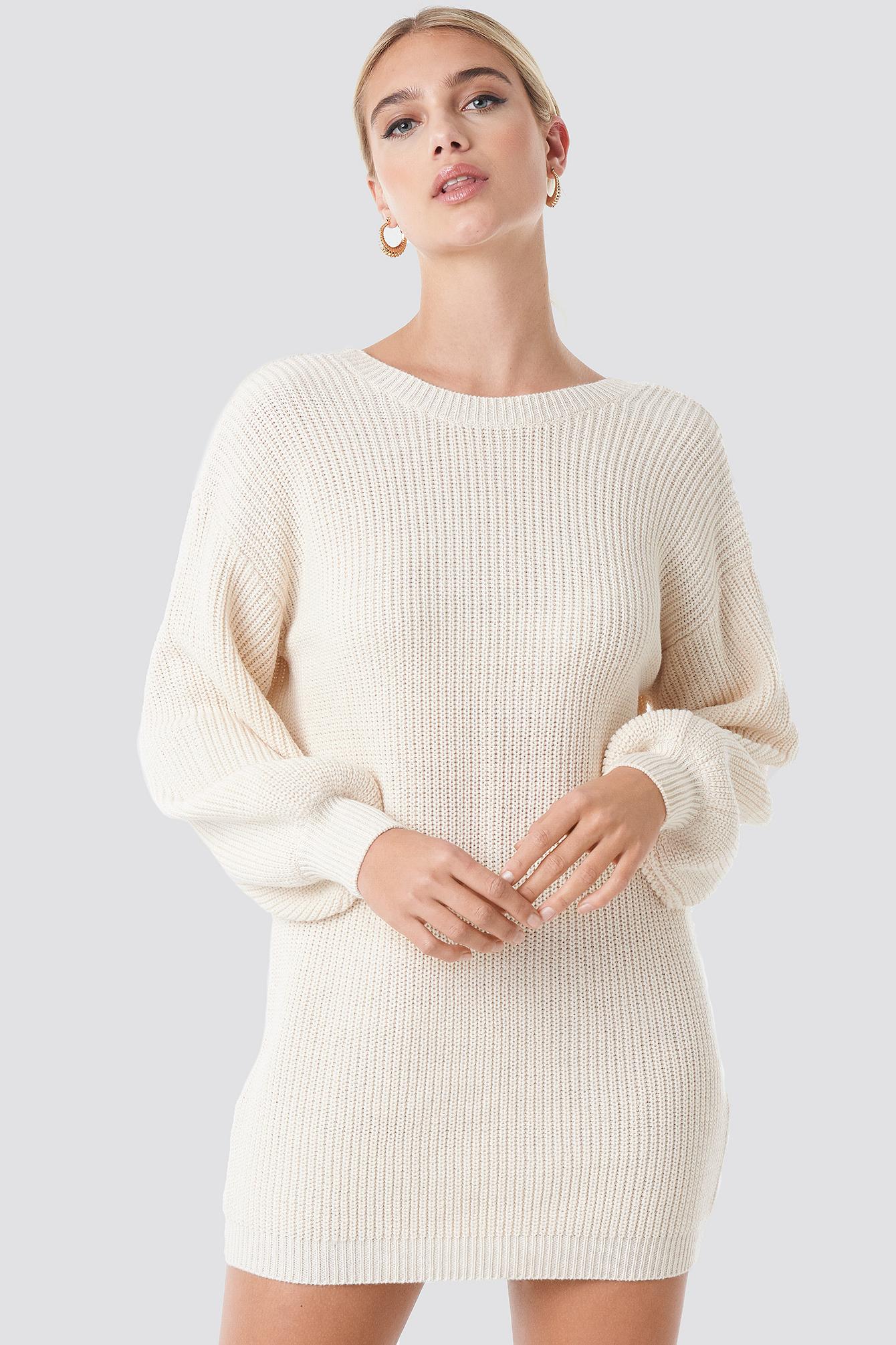 Deep V Back Long Knitted Sweater NA-KD.COM