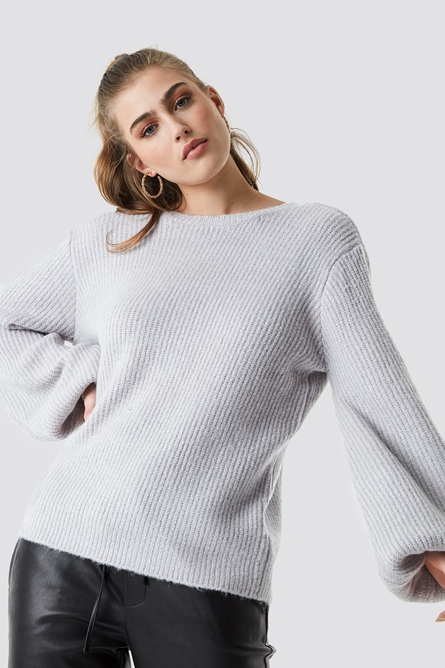 Deep V Back Sweater Grey
