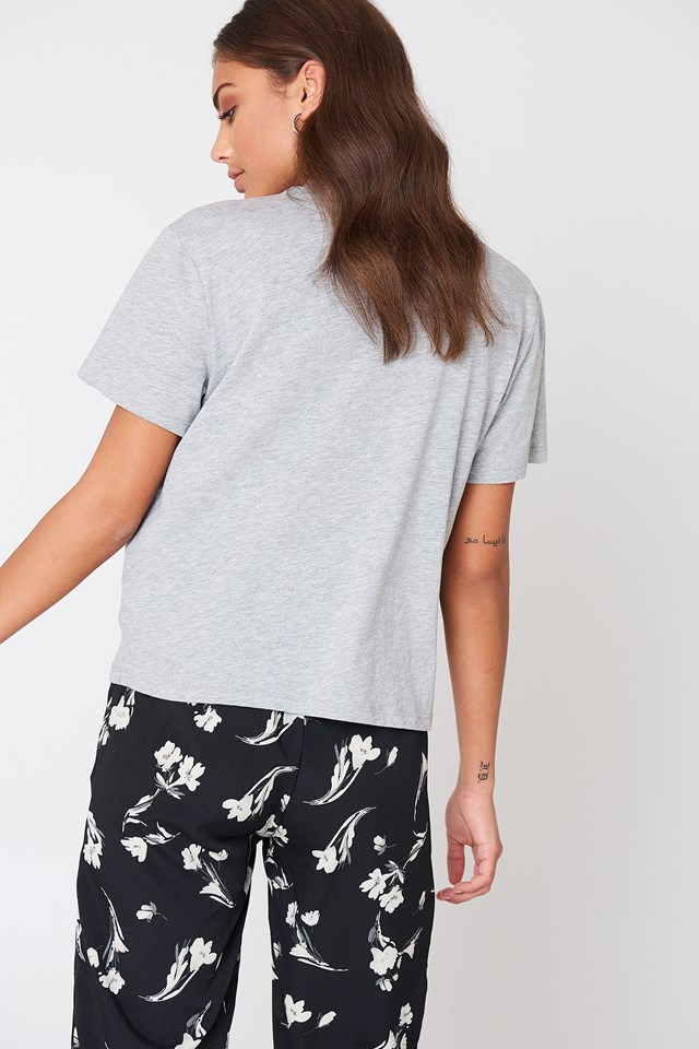 Deep V Cut Out Tee Grey
