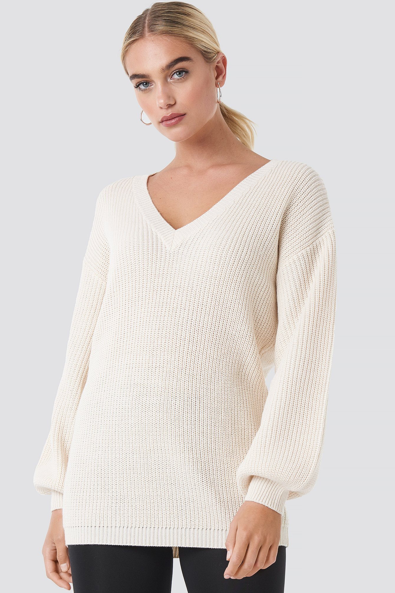 Offwhite Deep V Front Long Knitted Sweater