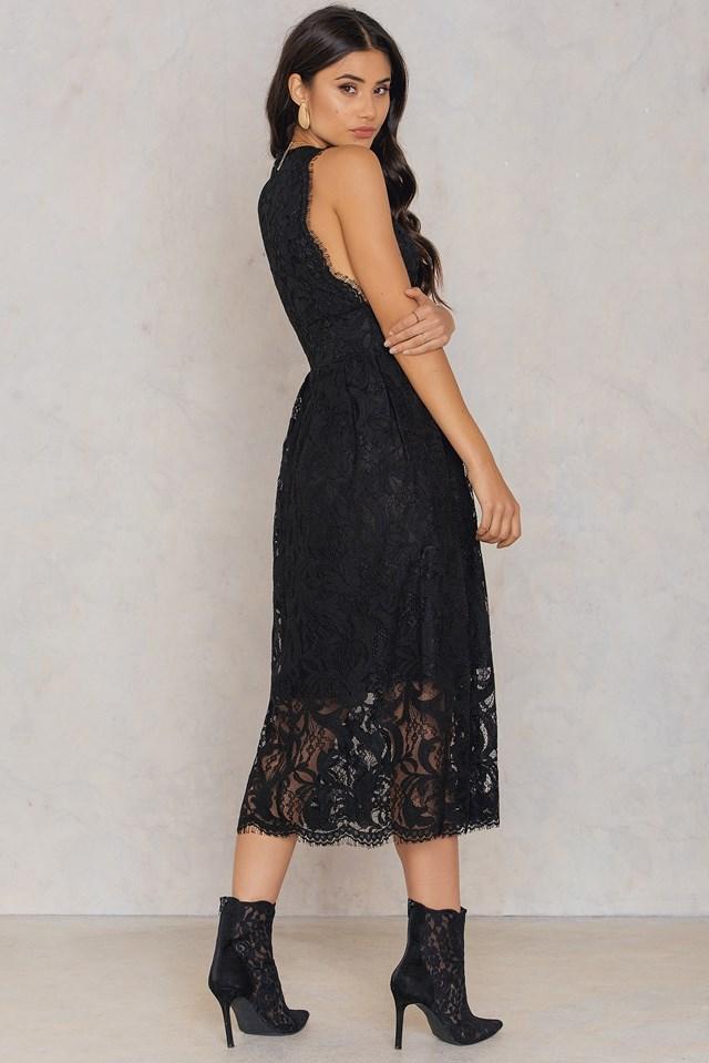 Deep V Midi Lace Dress Black