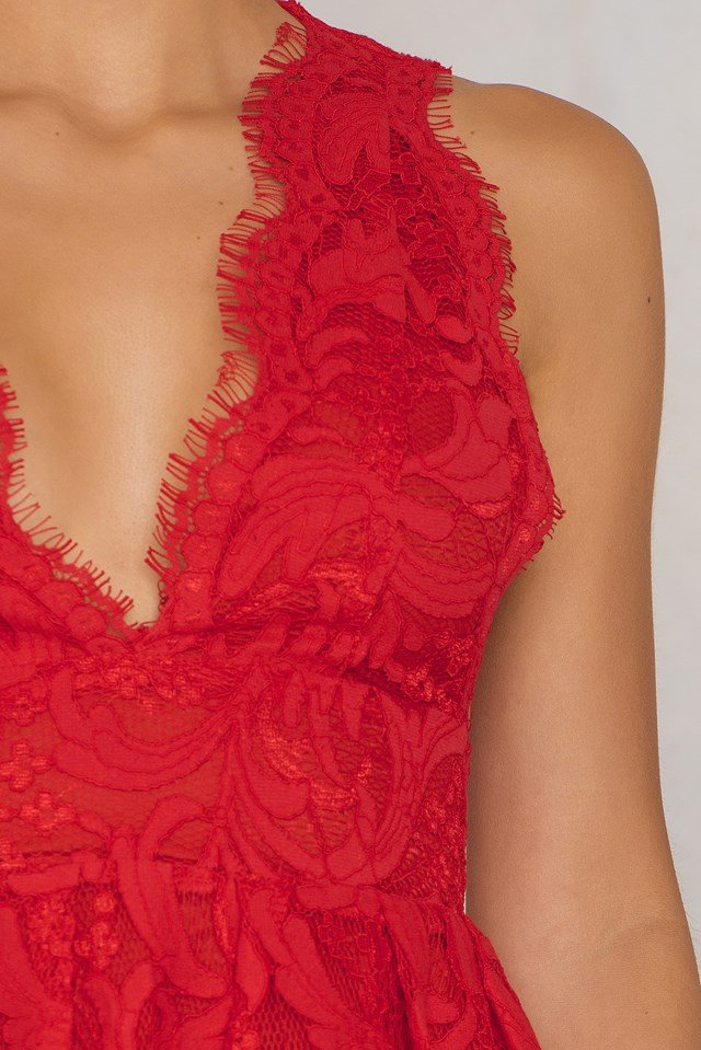 Deep V Midi Lace Dress Red