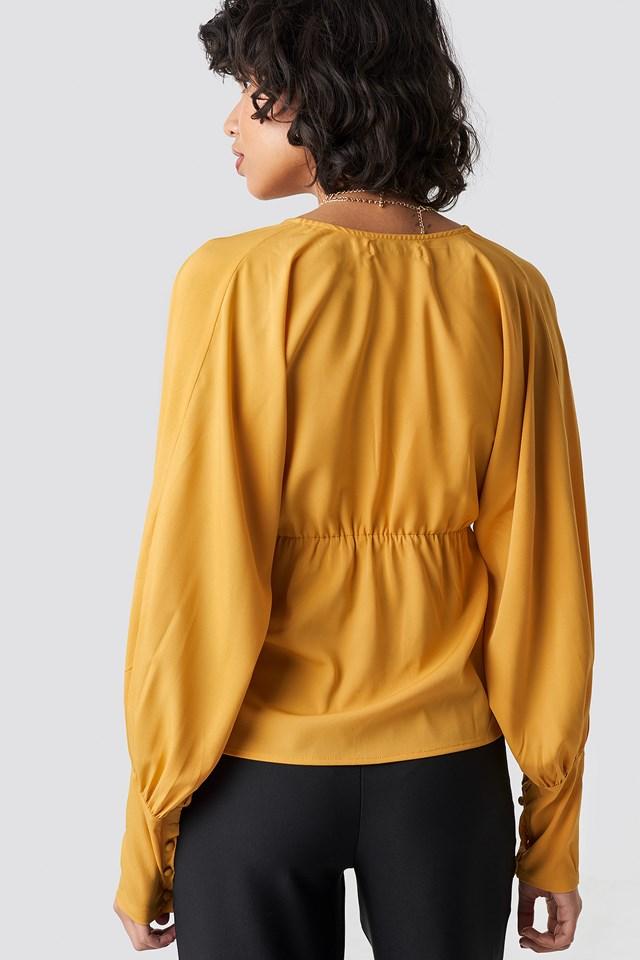 Deep V-Neck Balloon Sleeve Top Mustard Yellow