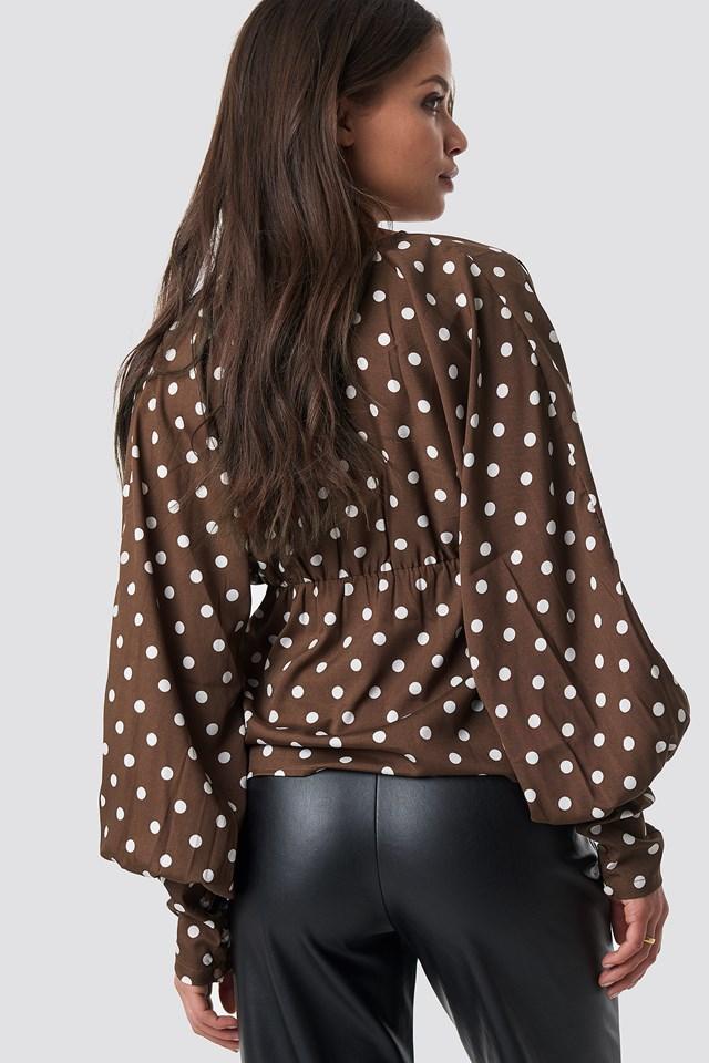Deep V-Neck Balloon Sleeve Top Brown Dots