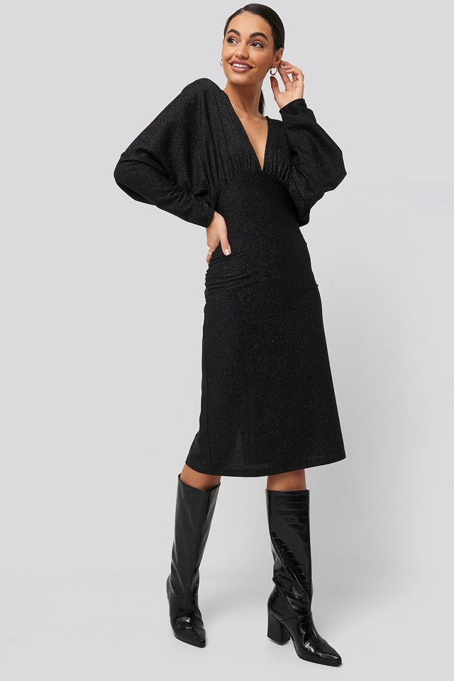 Deep V Neck Batwing Lurex Dress Black
