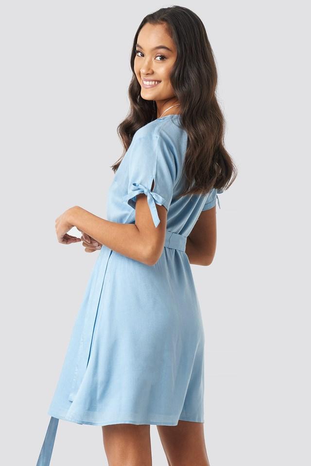 Deep V-Neck Knot Detail Dress Dusty Blue