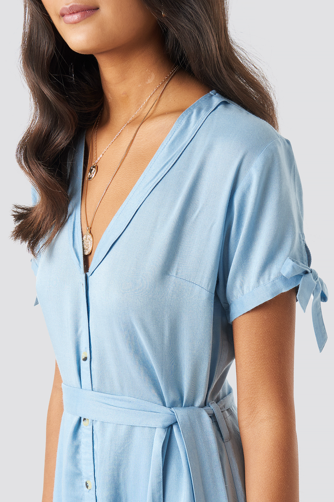 Deep V-Neck Knot Detail Dress NA-KD.COM