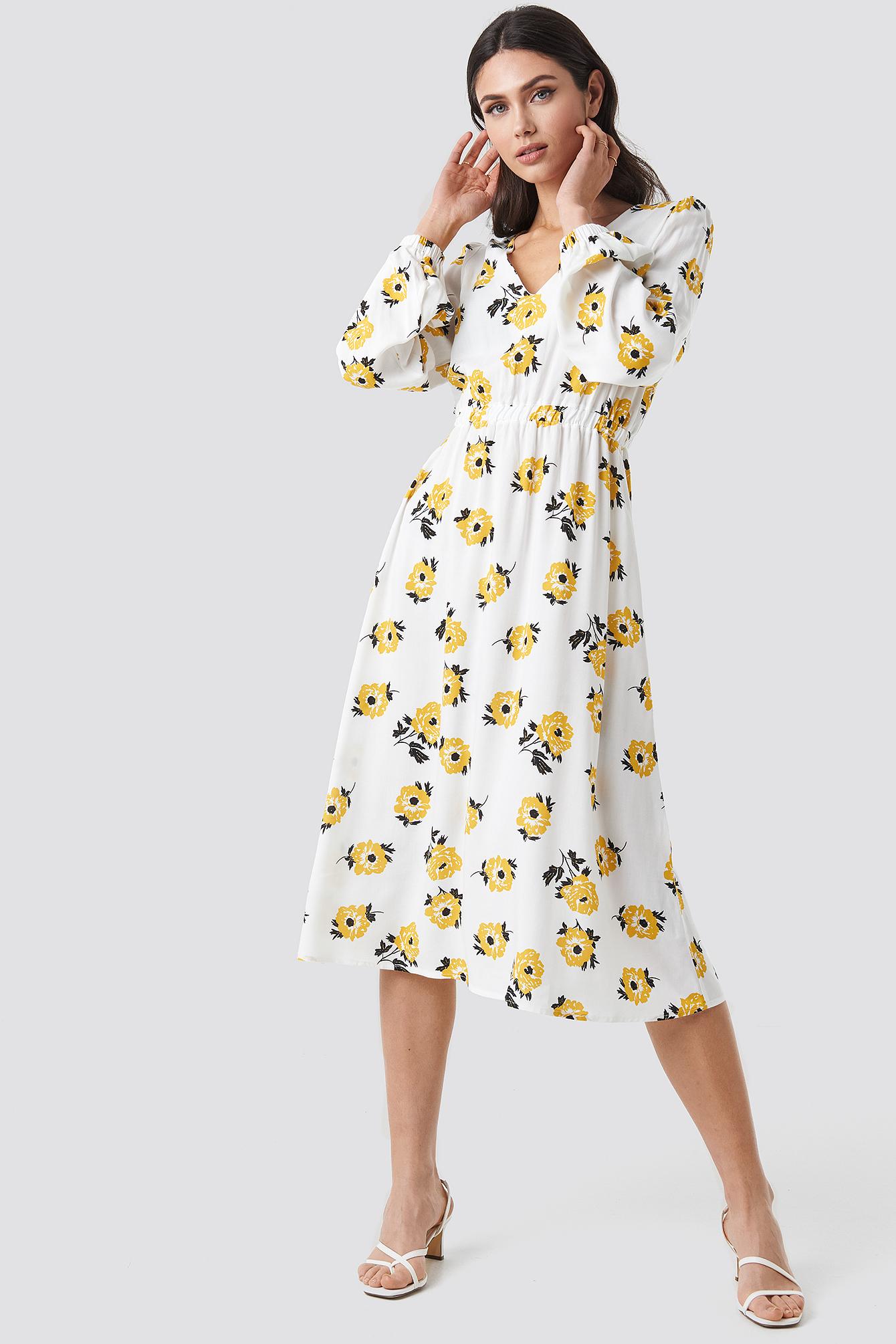 Deep V-Neck Midi Dress NA-KD.COM