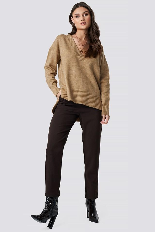 Deep V-neck Oversized Sweater Beige