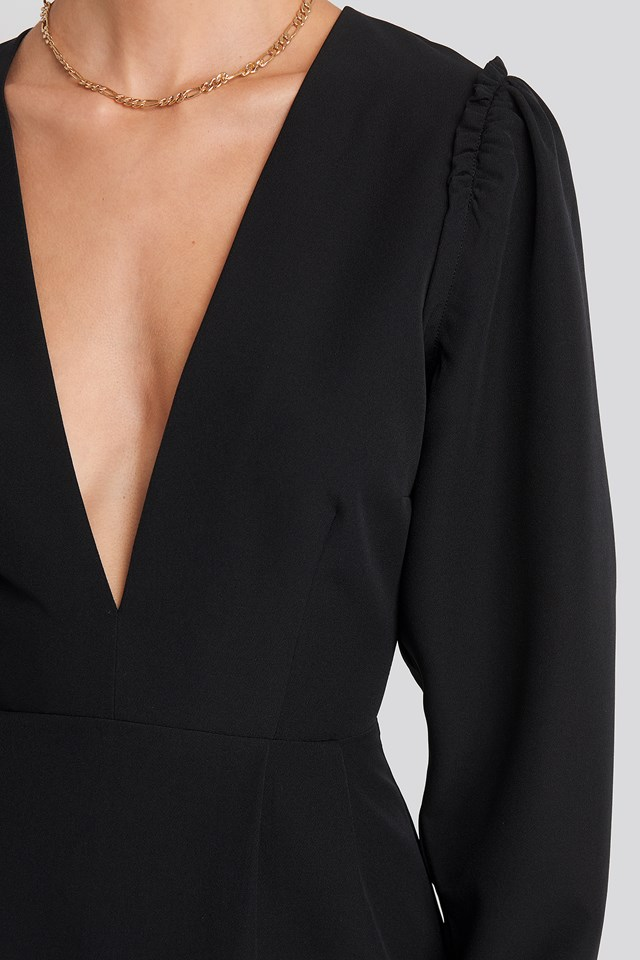 Deep V-Neck Puff Long Sleeve Mini Dress Black