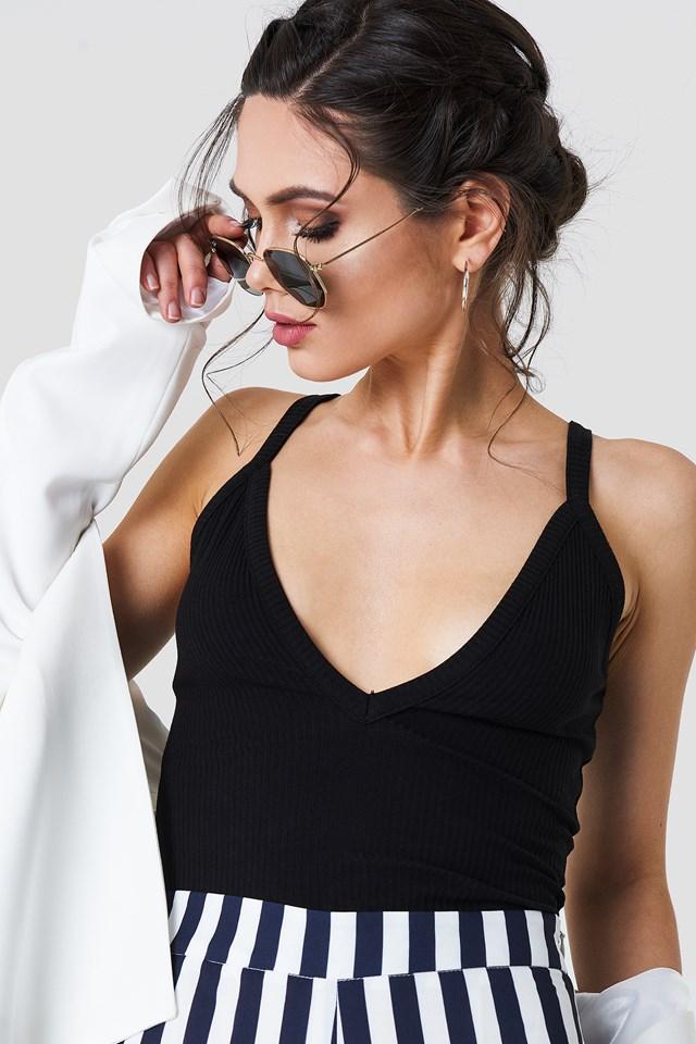 Deep V-neck Rib Singlet Black