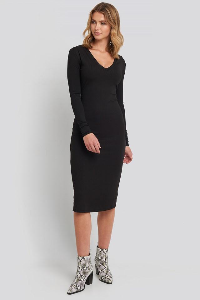 Deep V-Neck Ribbed Dress NA-KD