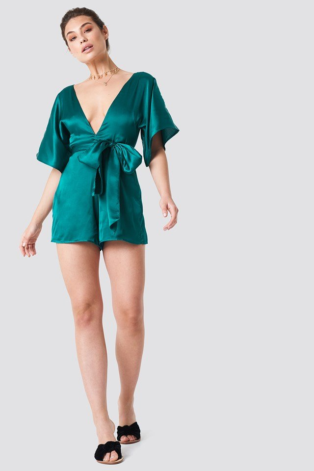 Deep V-neck Silky Playsuit Emerald Green