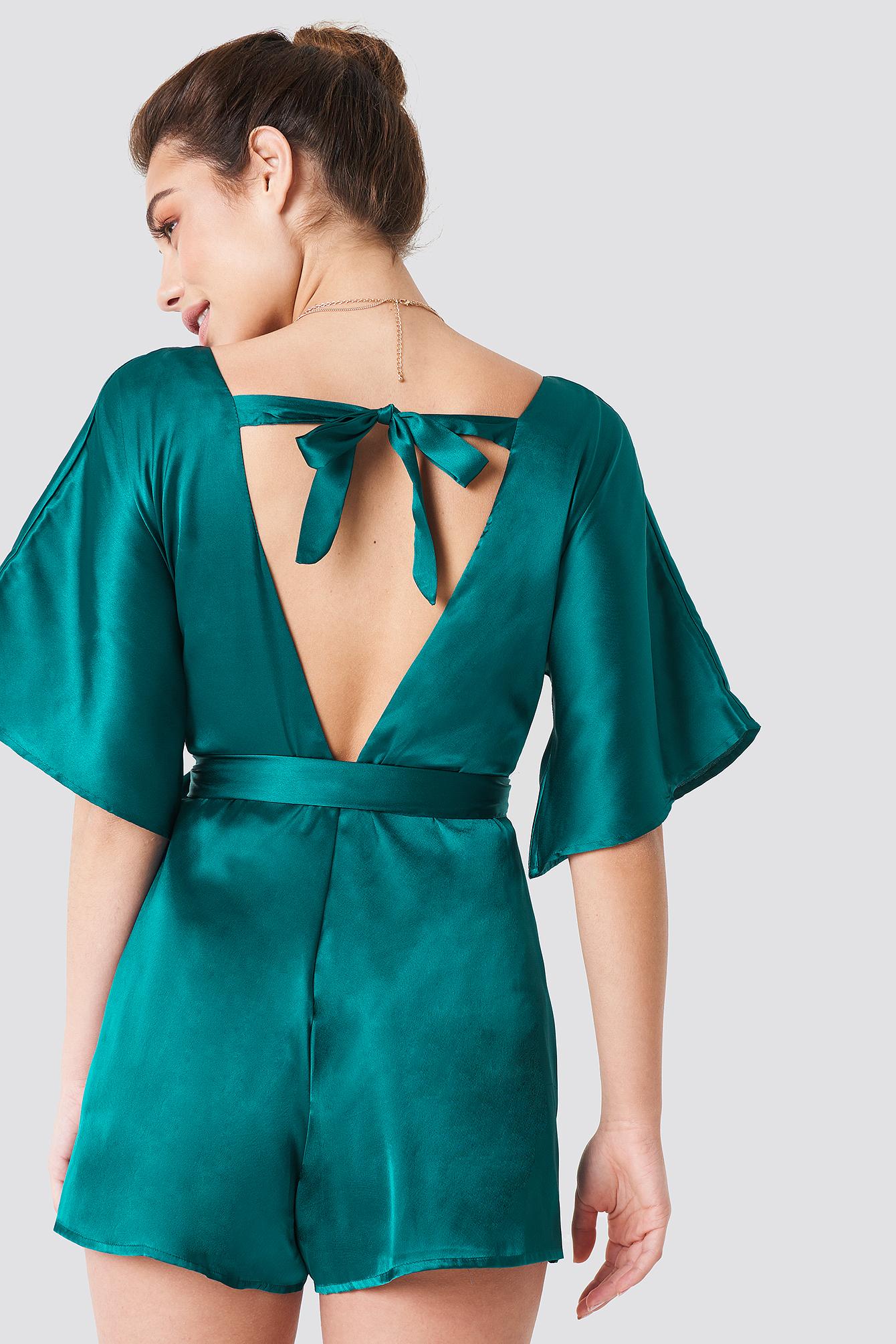 088df9bab93 Deep neck silky playsuit emerald green jpg 640x960 Silky playsuit