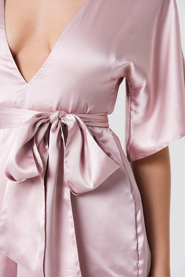 Deep V-neck Silky Playsuit Light Dusty Pink