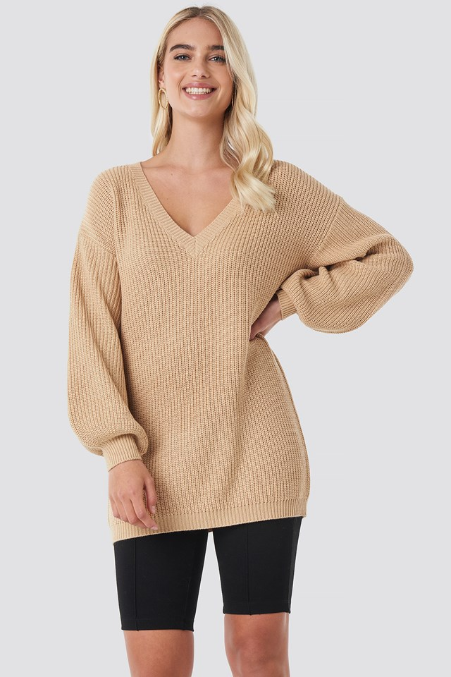 Deep V Front Long Knitted Sweater NA-KD