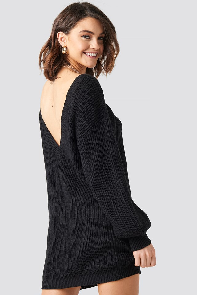 Deep V Back Long Knitted Sweater NA-KD.COM