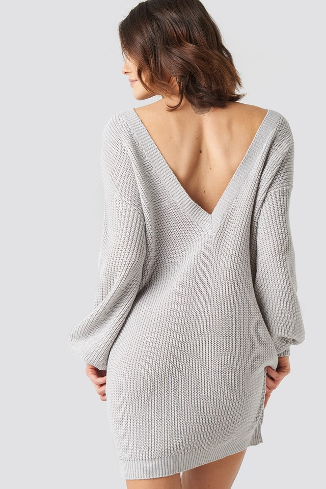 Deep V Back Long Knitted Sweater NA-KD