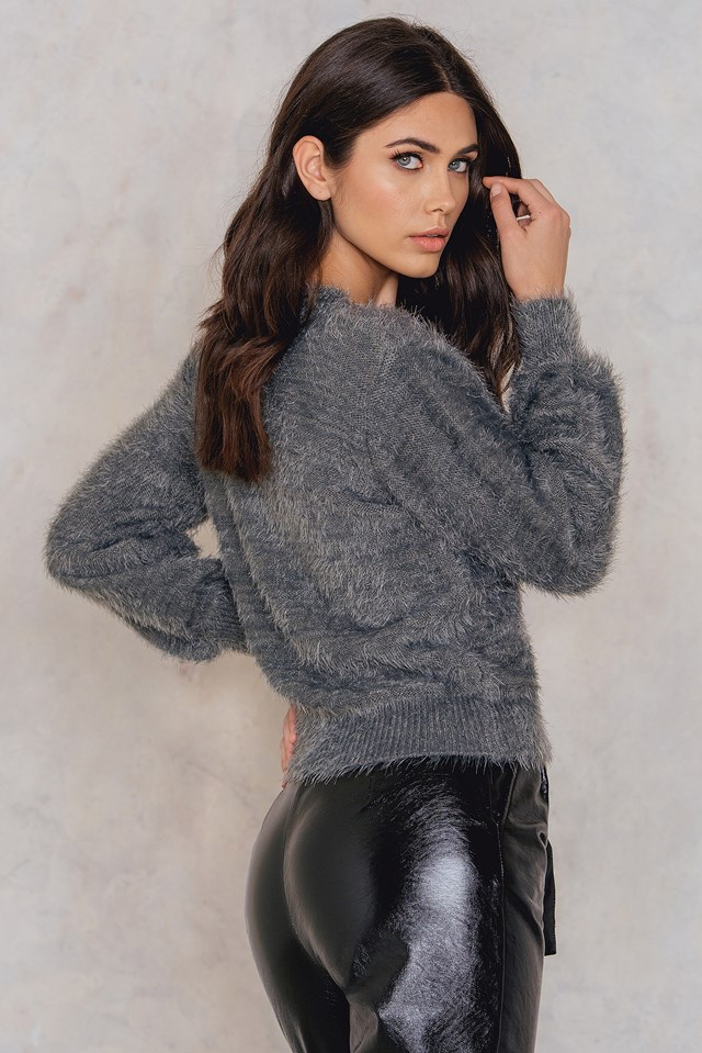 Deep V-neck Knitted Sweater Grey