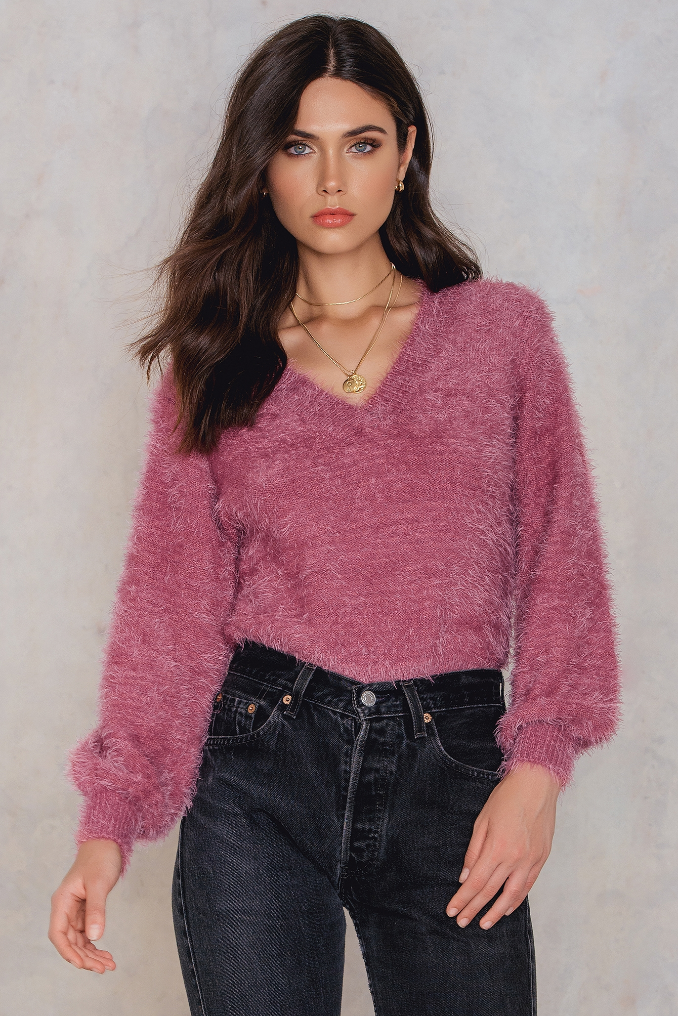 Dusty Pink Deep V-neck Knitted Sweater