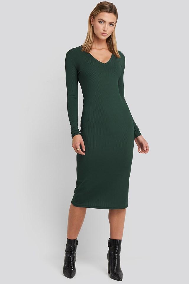 Deep V-Neck Ribbed Dress Dark Green