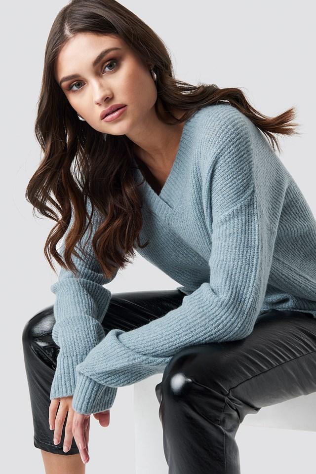 Deep V Neck Wool Blend Sweater NA-KD Trend