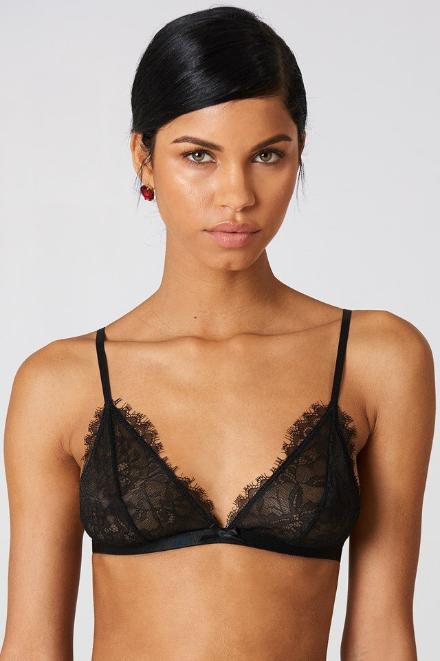 Delicate Eyelash Lace Bra Black