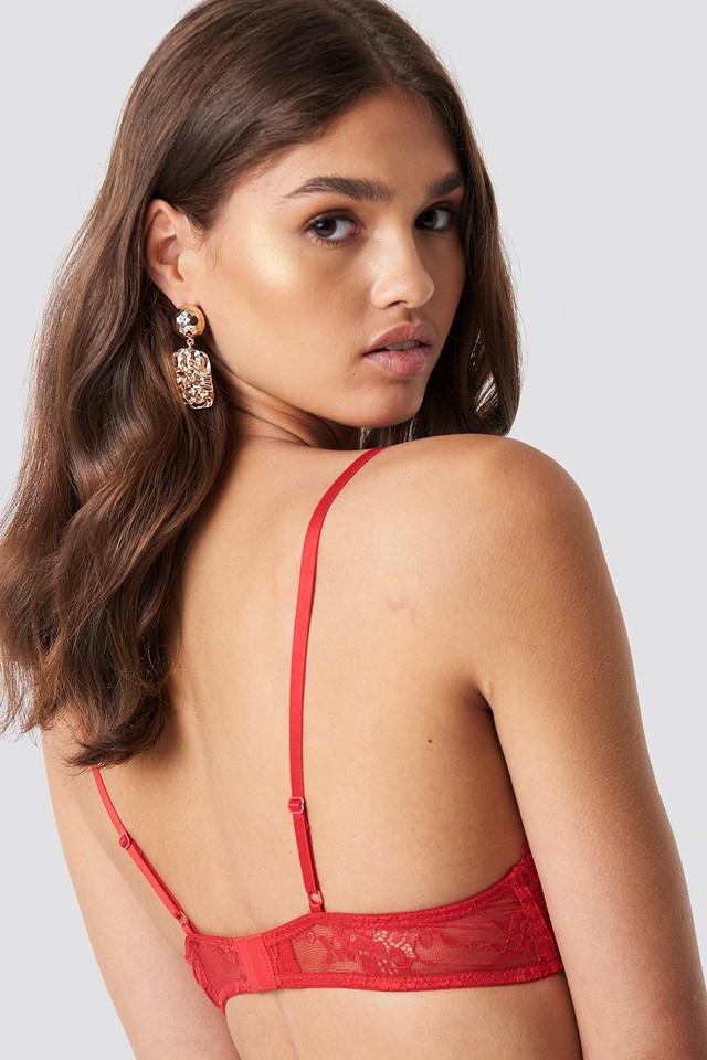 Delicate Lace Bra Red
