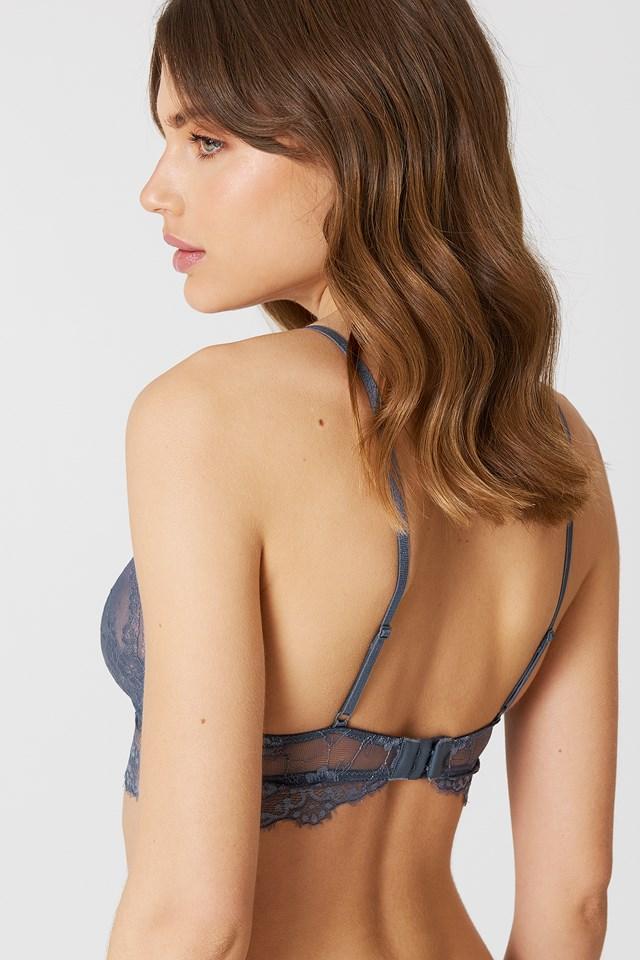 Delicate Lace Bralette Dusty Blue Grey