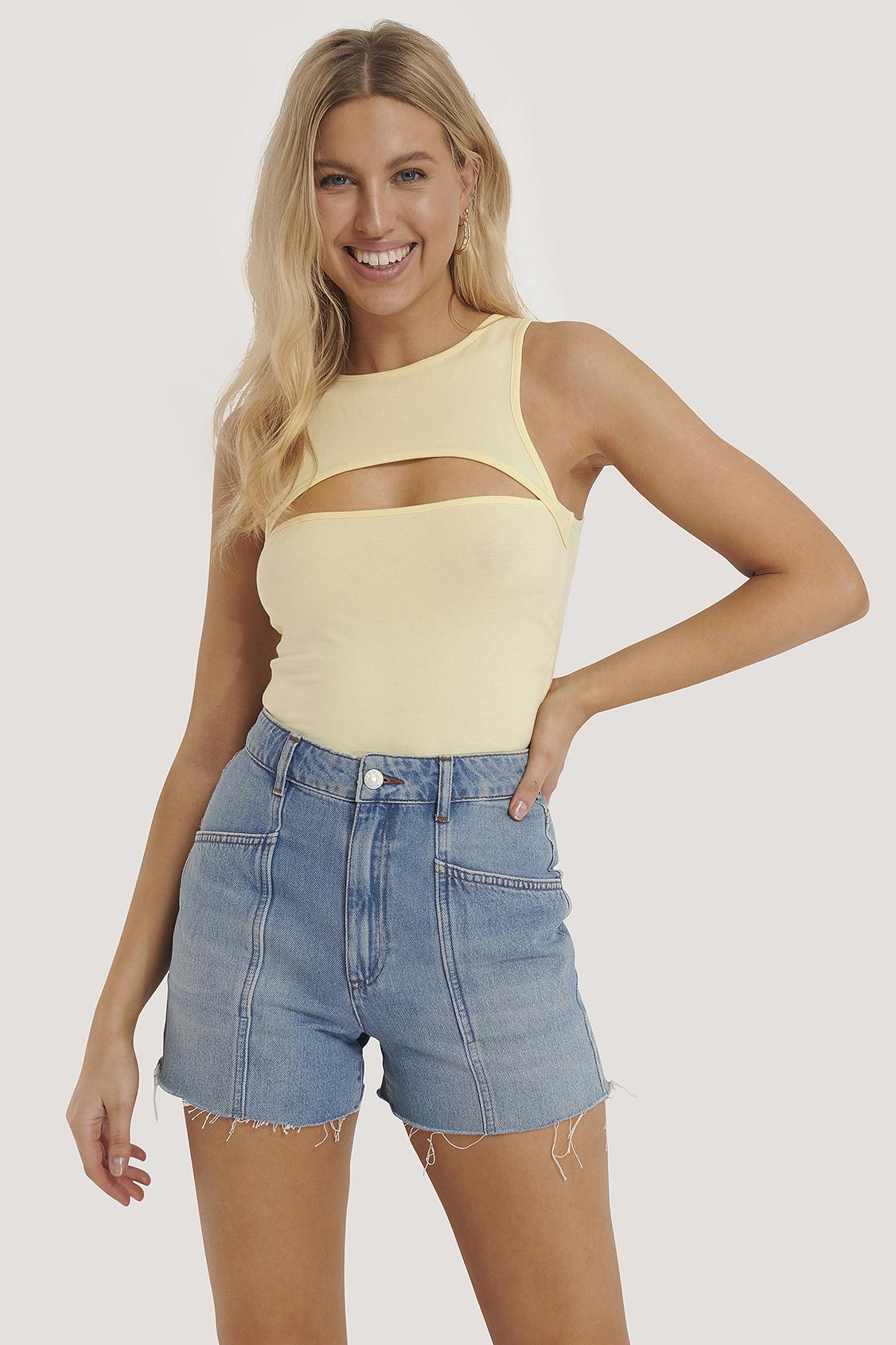 na-kd trend -  Jeans-Shorts Mit Nahtdetail - Blue